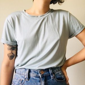 Baby blue tee with cuffed sleeves
